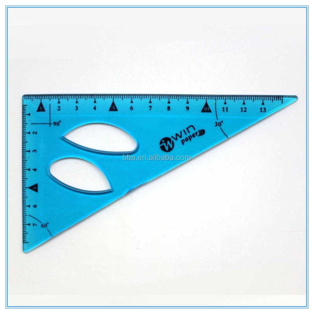 13cm clear PVC soft flexible stationery triangular scale rulers for kids geometric math