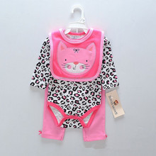 Wholesale Baby Wears Cotton 3-Piece Set Baby Romper Bib Baby Bodysuit and Pant