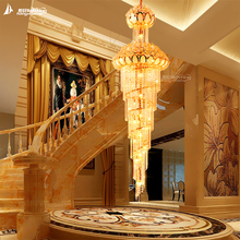 Hotel wineshop villa rolling ceiling lamp penthouse floor long droplight double check living room electrolier lamp stair crystal