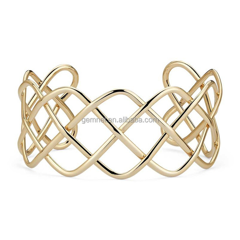 Wholesale jewelry 14kt yellow gold wide braided simple bangle cuff