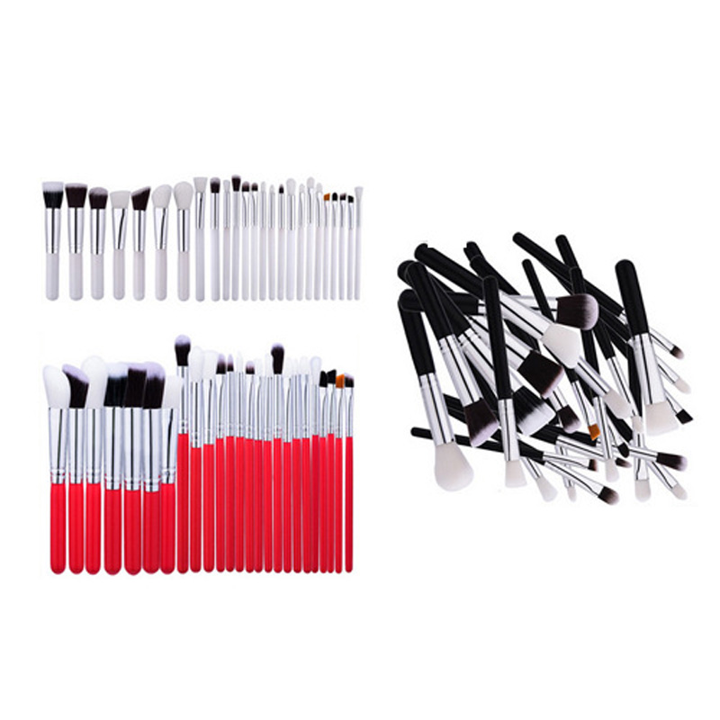 High End Quality Soft Hair Red Silver Professional Makeup Brush Set 25pcs OEM ODM Private Label Acceptable