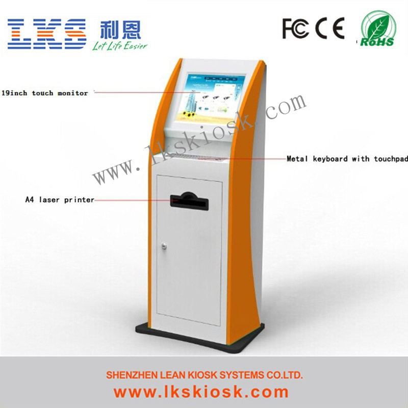 Touch Screen Kiosk Machine With A4 Printer