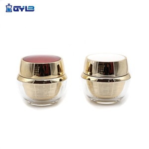 Manufacture Gold Round Acrylic Cream Jar With Red Or White Cap