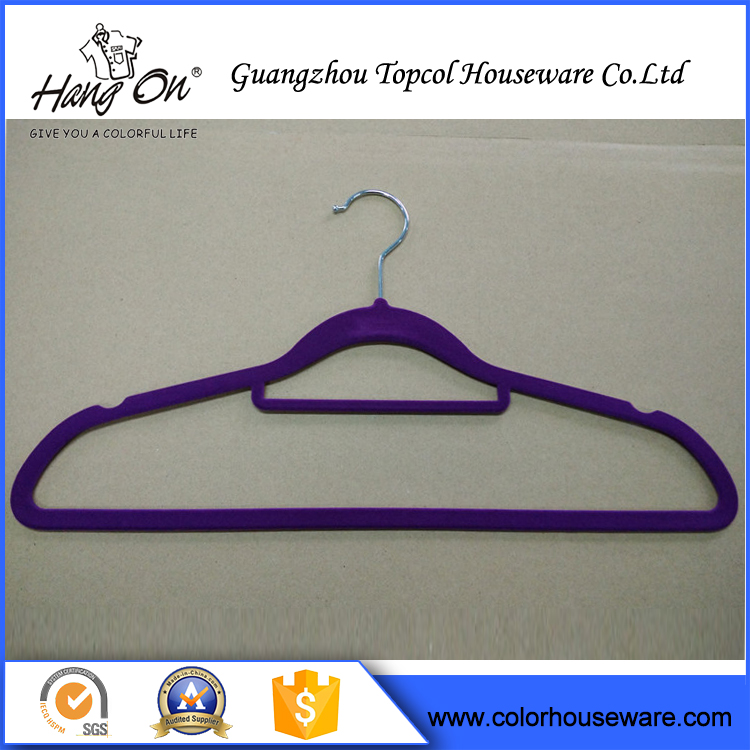 Non slip velvet flocked hangers wholesale coat Velvet Flocked Hangers