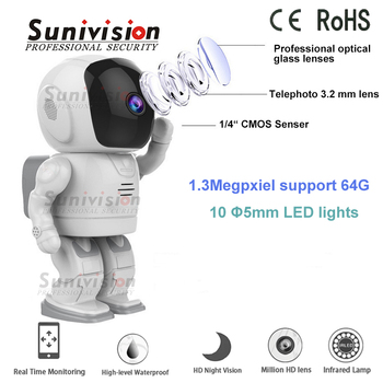 64G TF card memory 1.3MP robot IP home security camera system wireless with alarm function