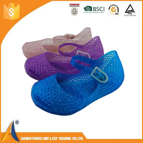Candy color Factory price promotional pvc fashion kids JELLY shoe for sale, blossom flower PVC shoe