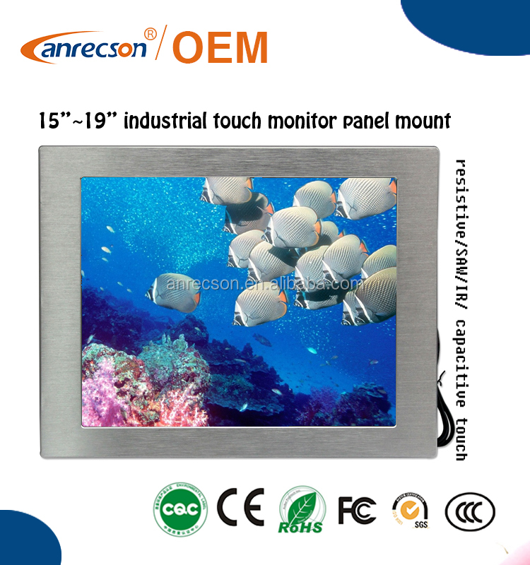 "15"" Bulk LCD IP65 Waterproof Industrial DVI VGA Monitor with High Brightness Touchscreen"