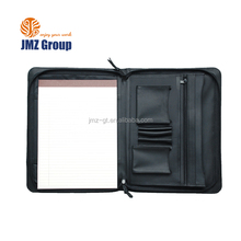 High quality black A4 leather portfolio organizer for bussiness file holder with zippered closure