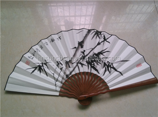 Chinese Bamboo Folding Paper Hand Fan Big