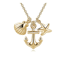 New Arrival Sea Of Life Jewelry Sterling Silver Anchor Shell And Starfish Pendant Necklace