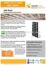 Znshine Building Integrated Photovoltaic Panels (BIPV) 75W 80W 85W 90W 95W 100W