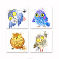 Funny Bird Watercolor Painting Canvas Printing 4 Night Owl Picture Printing Children Room Decoration Wholesale Canvas Painting
