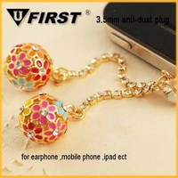 2014 fahison crystal ball Dustproof plug for iphone ear cap with chain