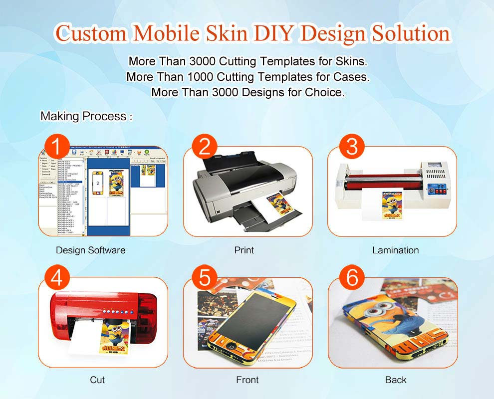 2017 3d personal design mobile phone sticker printer for all phone models
