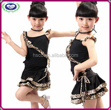 Children dance costumes skirt black girl new leopard split set Latin dance costume children