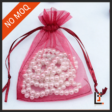 7*9 cm sheer red color organza small organza gift pouch