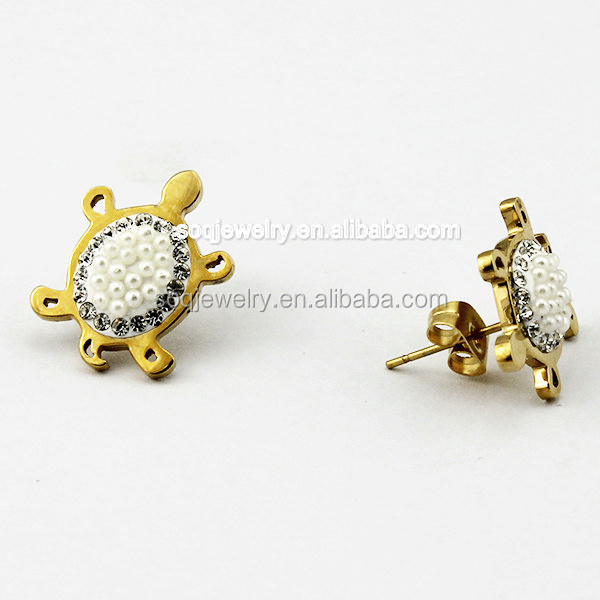 Alibaba China 316I Stainless Steel Turtle Imitation Pearl Stud Gold Earrings for Women Elegant Jewelry