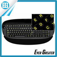 Keyboard sticker fluorescent in different color useful at night
