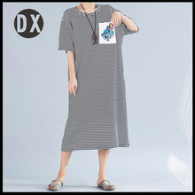 Large size women's summer new cotton stripes loose loose thin long-sleeved T-shirt dress