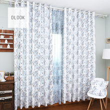 2017 Wholesale beautiful design polyester printed window cotton curtain material