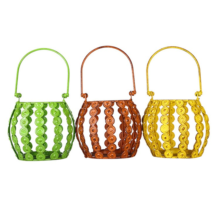 guangzhou wholesale decor home colorful piercing antiqued metal lantern candle holder