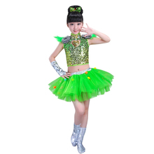 Red stage country girl dance costume