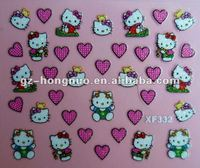 Hello Kitty Valentines Day Love 3D Nail Art Stickers Decal XF332
