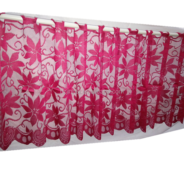 Lace Window Valance Home Kitchen Sheer Cafe Curtain Poinsettia Red Christmas Lace Curtain