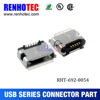 usb port replacement, usb port, micro USB 5P female B type DIP 6.40 with padstack