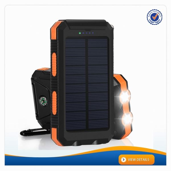 AWC719 8000mah Outdoor Compass fully solar Waterproof li ion battery charger for samsung