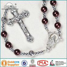 Religious brown pearl imatation beads rosary necklace