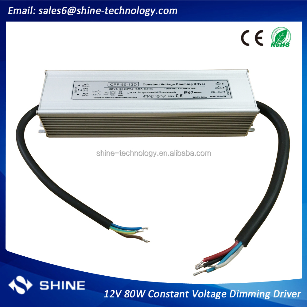 High quality 12v 80w constant voltage dimming driver, waterproof dimmable led power supply for strip(CPF-80-12D)