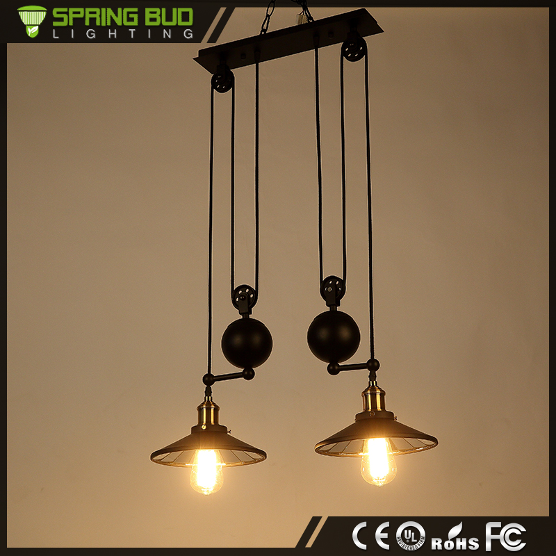 Zhongshan manufacturer 2 pulleys black iron double arms hanging droplight decorative vintage pendant light