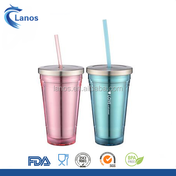 Chinese manufacturer 16oz double wall insulated stainless steel coffee tumbler clear tumbler mug with plastic straw