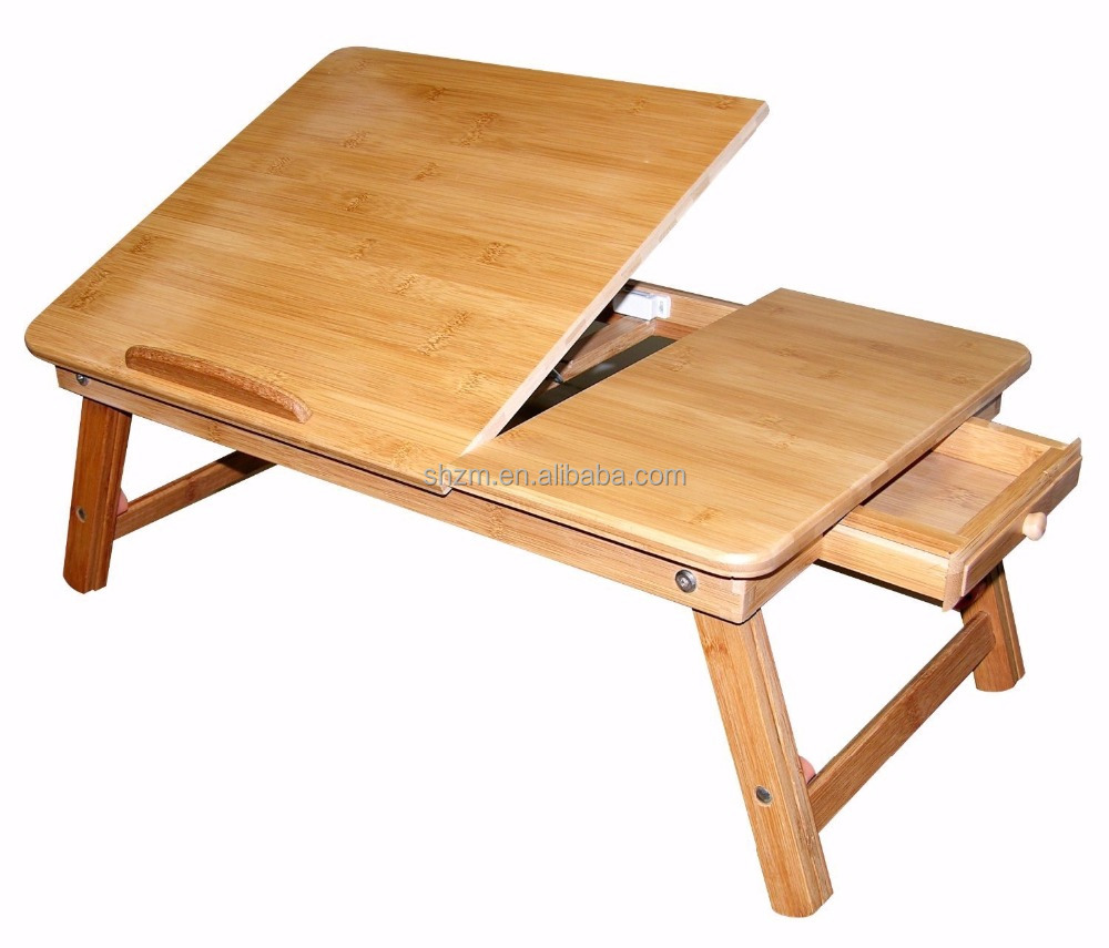 Bamboo Lap Desk with Flip Top,Foldable Breakfast Serving Bed Tray w' Tilting Top/Drawer
