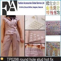 round hole hot fix stud iron on rhinestone transfer motif