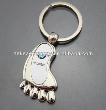 new arrival promotional foot shape blank Metal Keychain