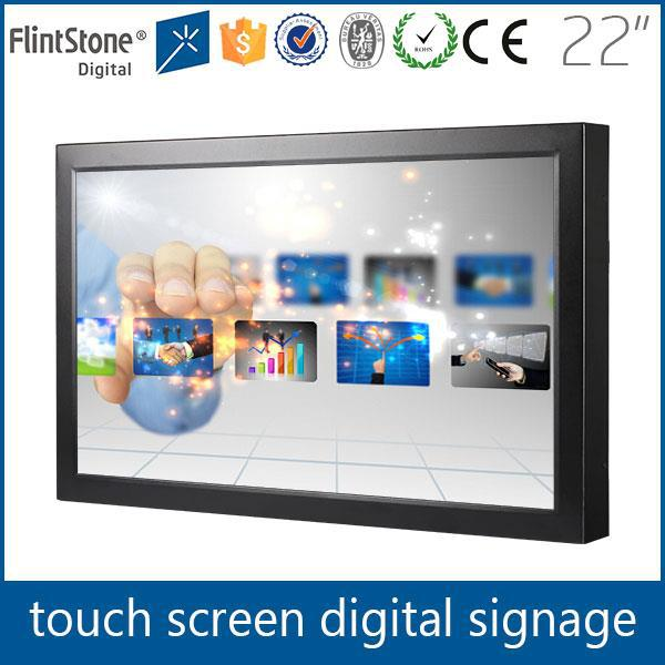 "Digital programmable metal casing 22"" wall mounted touch screen advertising, touch panel 22"" built in media player LCD screen"