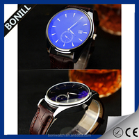 Men's Slim Sapphire Crystal Automatic Leather Black Watch