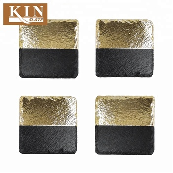 Beautiful square gold plating slate cup coaster