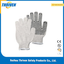 Best Quality Cotton Kintted White Hand Gloves With Dots