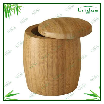 Totally custom bamboo box Bamboo round Salt Box