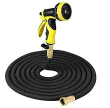 US Amazon Top Selling 50ft Black Car Wash Expanding Garden Hose with 9 Pattern Spray <strong>Nozzle</strong> &amp; <strong>Solid</strong> Brass On/Off Valve Fitting