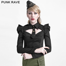 Y-625 Original design Black uniform style ladies Long puff sleeves women vintage shirt