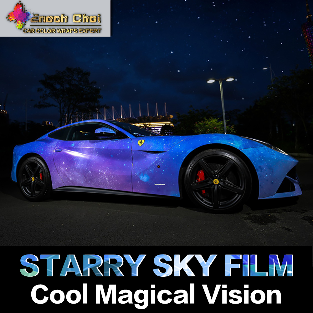 2016 New Listing Auto Colored Starry Sky Vinyl Film Wraps Starlit Decoration Car Stickers 1.52x*30M Vehicle Body Color Change