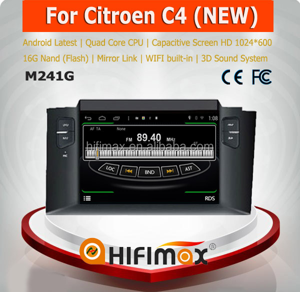 HIFIMAX Android 4.4.4 car radio dvd gps navigation system for New Citroen C4 WITH Capacitive screen 1024*600 Resolution