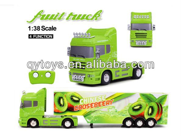 Novelty 2014 toy cars for kids 1:38 4 channel rc fruit trailer