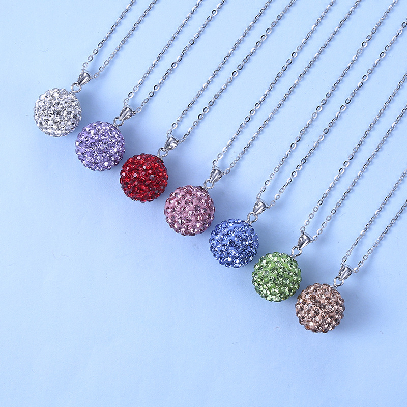 925 sterling silver Rhinestone Ball Necklace Pendant 7 Colors Available Crystal Ball Pendant
