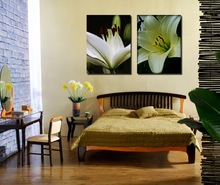 New Coming High Quality Cheap Stretched Canvas Prints White Lily Flower Painting for Home Decoration