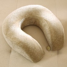 Memory foam neck pillow with velvet cover